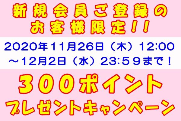 202011_新規300ポイントプレゼント