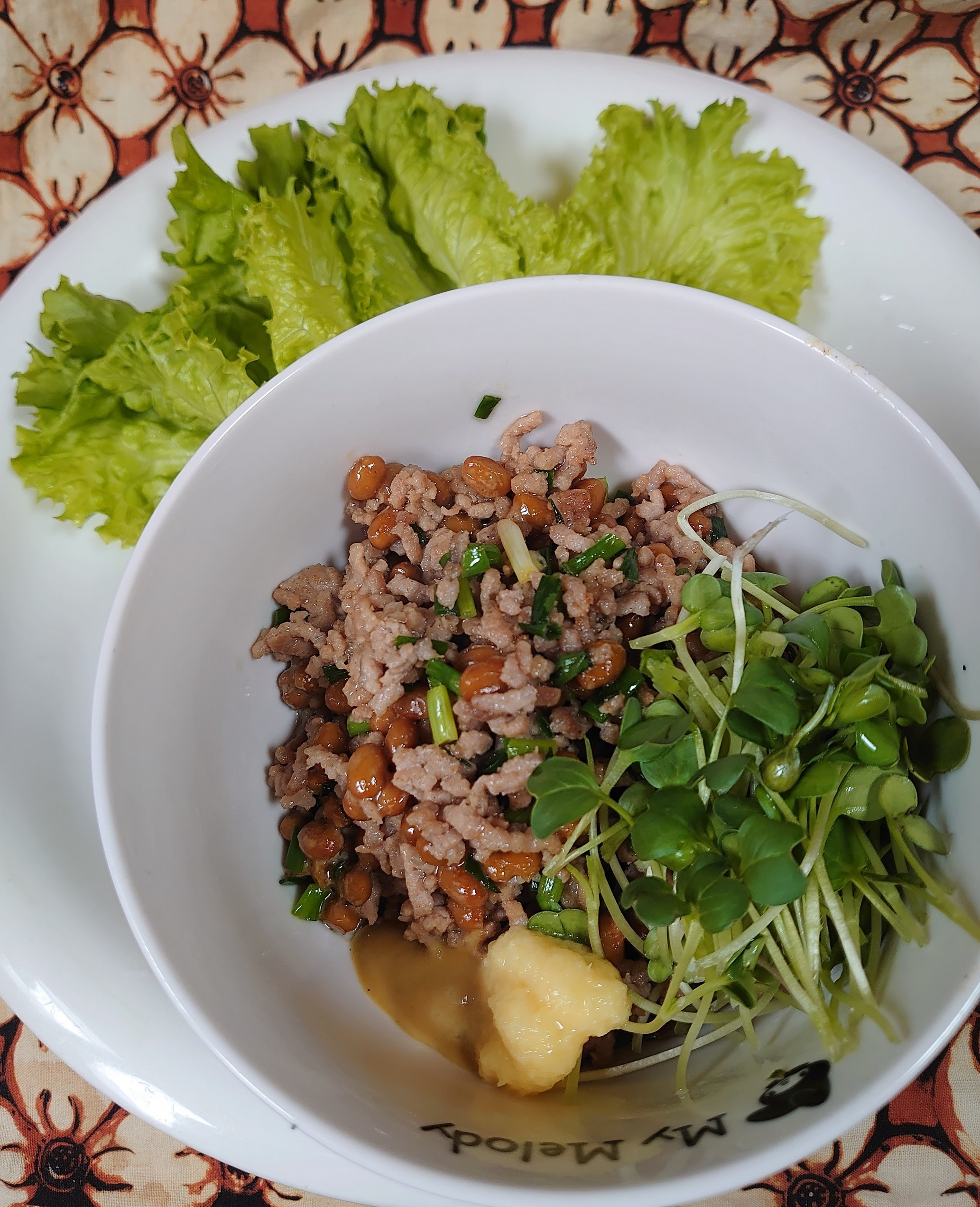 ひき肉納豆炒め