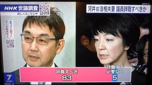 NHK世論 河井辞職?