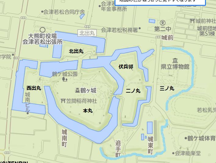 鶴ヶ城縄張り