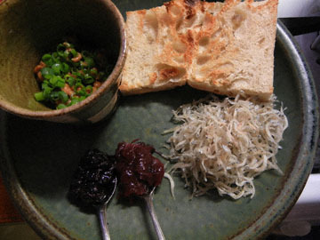 blog CP1 Breakfast, Green Onion Slab with Natto & Chirimen Jako_DSCN1787-1.11.19.jpg