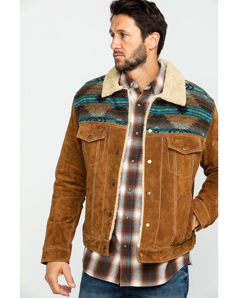Scully Mens Cafe Brown Boar Suede Jean Jacket - Big