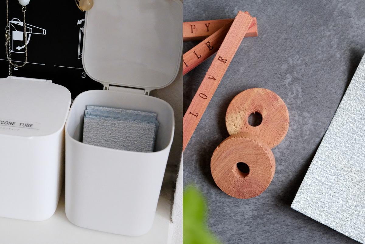 ダイソー・レッドシダーブロック(6個)・紙やすり①