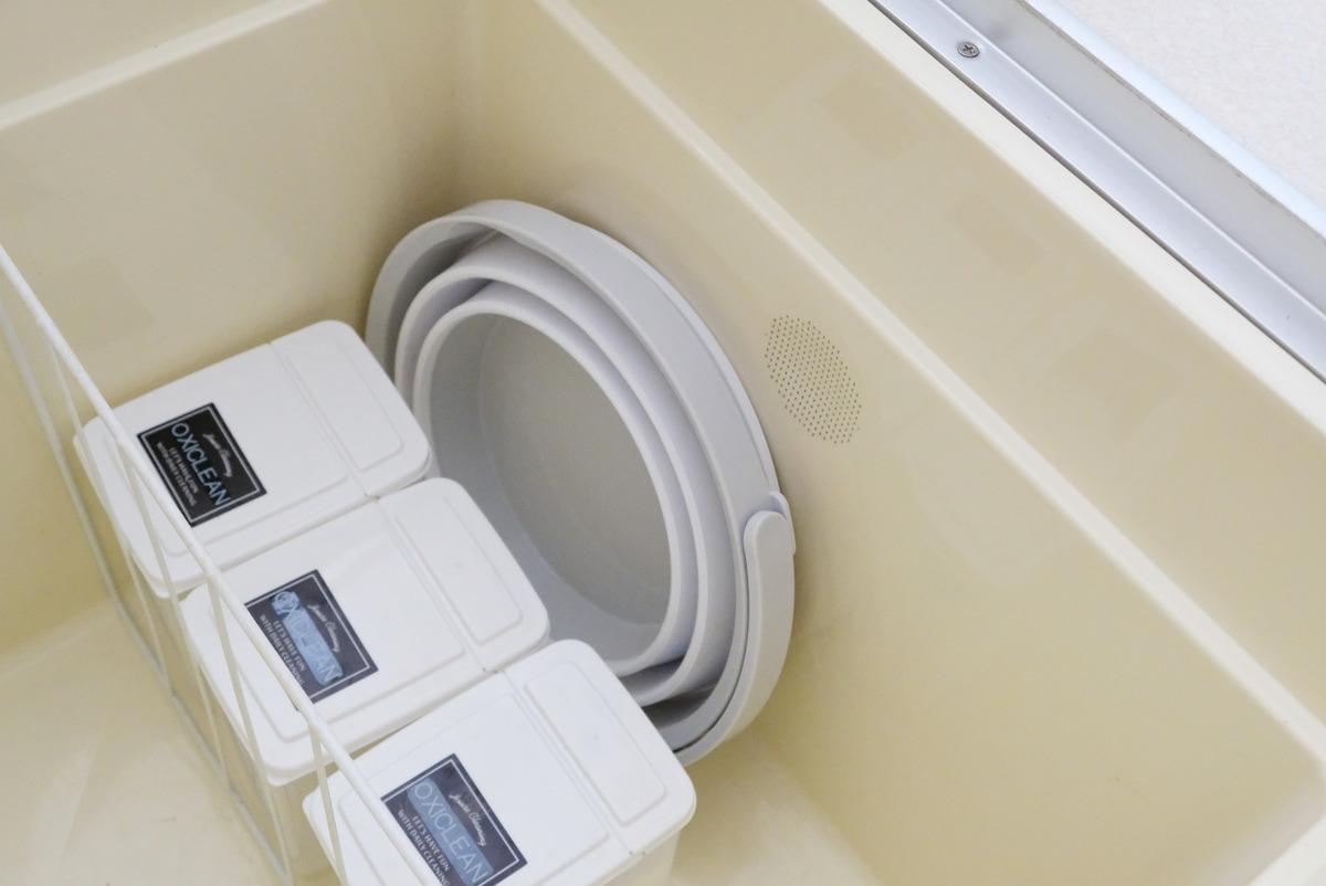 ニトリ・たためるバケツ 8L・洗面所・床下収納①